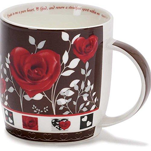 Pure Heart Renew Spirit Heart Floral Brown 13 Ounce Bone China Coffee Mug