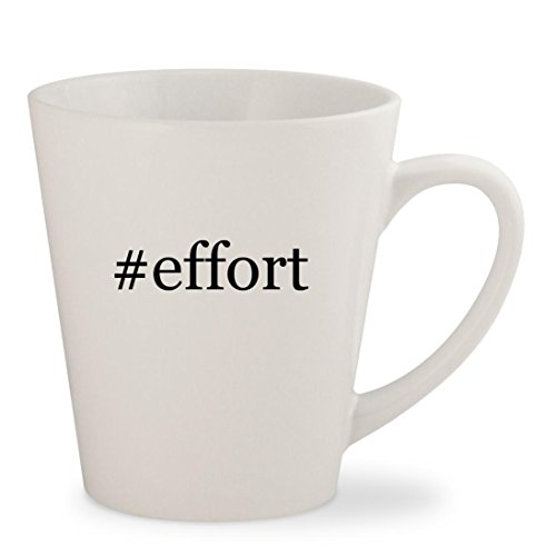 effort - White Hashtag 12oz Ceramic Latte Mug Cup
