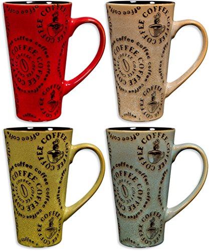 Colorful Tasty Ceramic Coffee Mug with Handle – Set of 4 - High Quality Ceramic Tea Cups Set - Tall Ceramic Latte Mugs Set Round Words