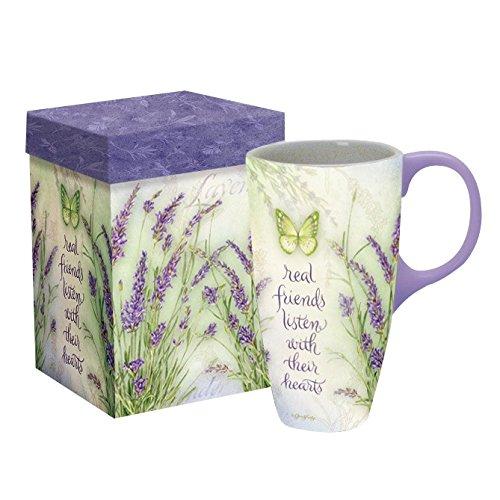 LANG - 18 oz Ceramic Latte Mug - Lavender - Artwork by Jane Shasky