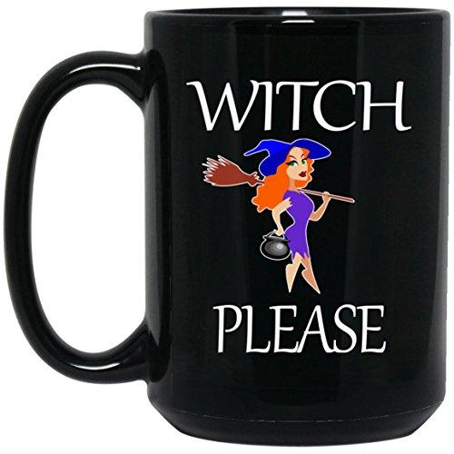 Funny Witch Please Large Black Mug