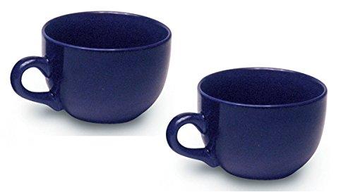 Jumbo Extra Large Ceramic Coffee Soup Mug 22 ounce Cobalt Blue Pack of 2