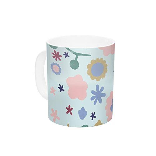 KESS InHouse Alik Arzoumanian Morning Flowers Pink Blue Ceramic Coffee Mug 11 oz Multicolor