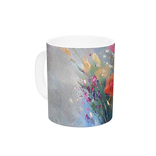 KESS InHouse Carol Schiff Roadside Bouquet Orange Blue Ceramic Coffee Mug 11 oz Multicolor