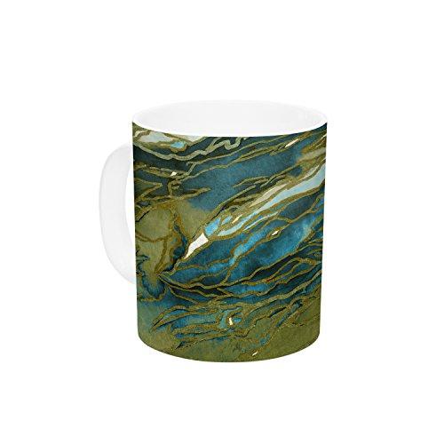 KESS InHouse Ebi Emporium Agate Magic Olive Teal Blue Brown Blue Ceramic Coffee Mug 11 oz Multicolor