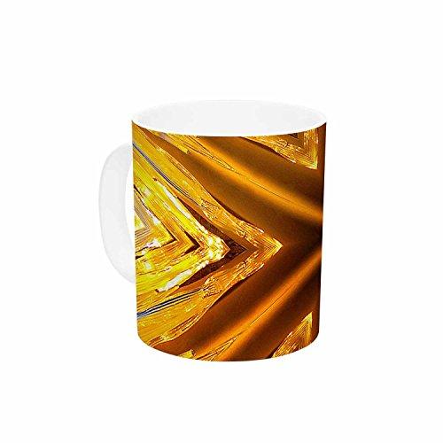 KESS InHouse Philip Brown Gold Star Icicles Gold Blue Ceramic Coffee Mug 11oz Multi