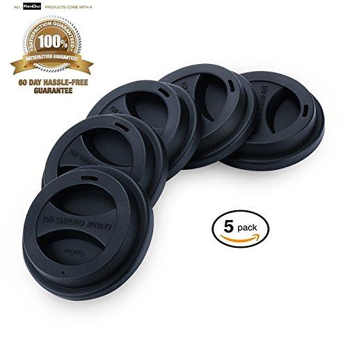5Pack Reusable Silicone Coffee Mug Lid Set KSENDALO Durable Thick Silicone Cup Cover for 1216 oz Mug Black