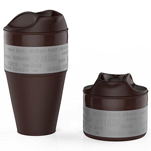 Jerrybox Travel Coffee Mug BPA Free Silicone Water Bottle Reusable 12 oz Compact Tea Cup Grey