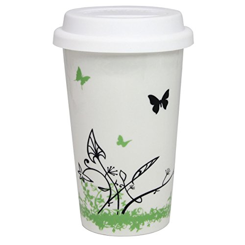 12 oz Coffee Cup Simple Trees Double Insulated Ceramic Mug with White Silicone Lid for Coffee Milk Tea Drink Butterfly Tree