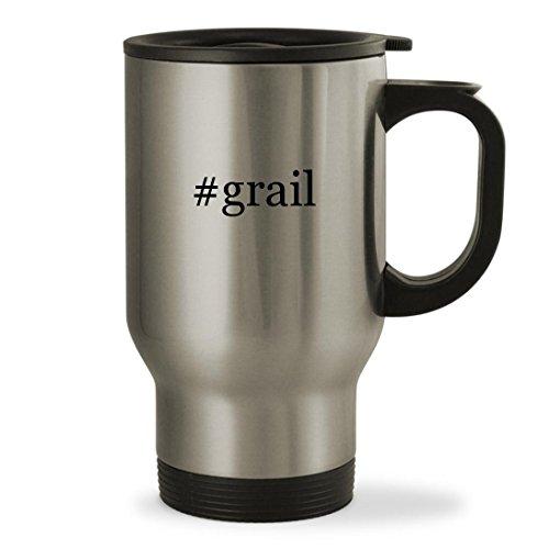 grail - 14oz Hashtag Sturdy Stainless Steel Travel Mug Silver