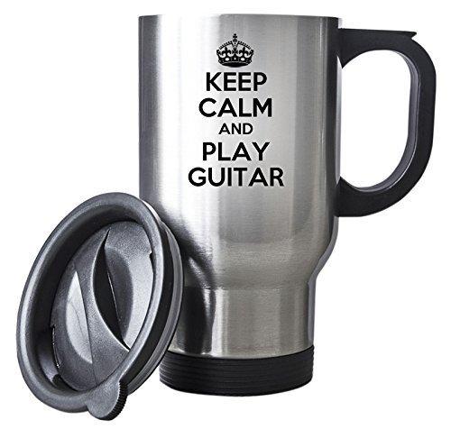 Scwoenn Keep Calm And Play Guitar Silver Travel Mug Steel