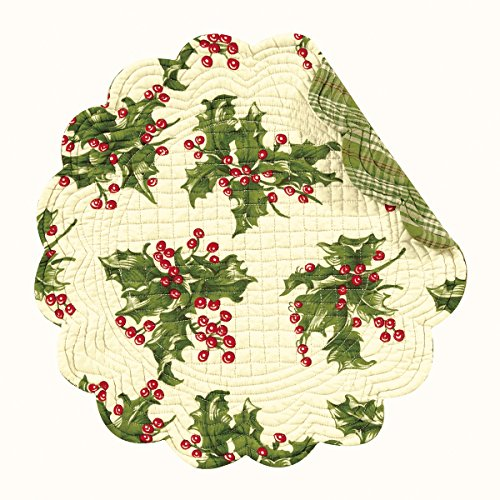 Set of 4 Pcs 17 Inches Round Quilted Placemats Holly Cream Christmas