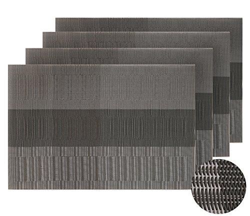Deconovo PVC Placemats Woven Vinyl Washable Table Mats Table Mats Placemats for Dining Table Set of 4 Dark grey and Light Grey