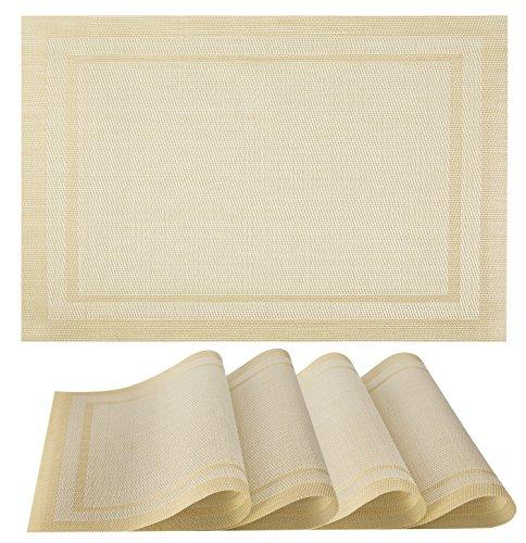 Placemats Set of 4 Vinyl PVC Placemat Table Mats  Non slip  Heat Resistant Beige