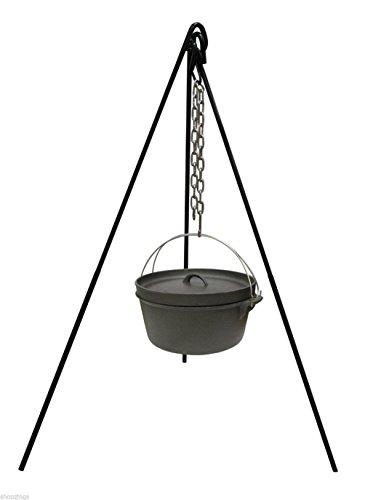Camping Cast Iron Cooking Lantern Tripod Camp Fire Dutch Oven Pot Pan Holder
