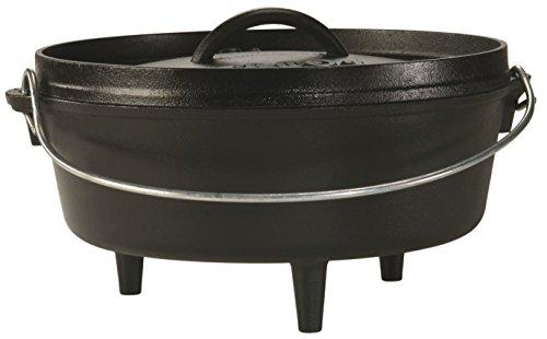 Premium Lodge 4 Quart Cast Iron Camp Deep Dutch Oven Pot with a Meat Tenderizer Combo