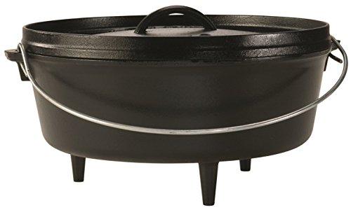 Premium Lodge 6 Quart Cast Iron Camp Deep Dutch Oven Pot with a Meat Tenderizer Combo