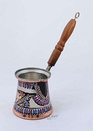 Solid Hammered Copper Turkish Greek Arabic Coffee Pot Stovetop Coffee Maker Cezve Ibrik Briki with Wooden HandleMedium - 9oz  - ENGRAVED-CP-101