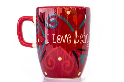 Tea  Coffee Mugs I love being with you Hand Painted Handmade like personalised gifts mugs in premium ceramic with gloss 13 Oz - 375 ml 35- 9 cm diameter 5- 12 cm Tall