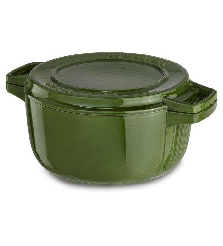 Kitchenaid Kcpi40crig Professional Cast Iron 4-quart Casserole Cookware - Ivy Green