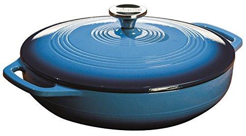 Lodge Color Ec3cc33 Enameled Cast Iron Covered Casserole, Caribbean Blue, 3-quart