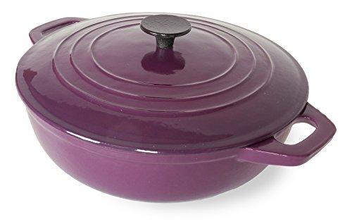 Spiceberry Home Cast-iron Enamel Brasier Covered Casserole, 4-1/2 Quart, Purple