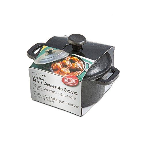 Tablecraft Cw30110 Cast Iron Round Casserole Cookware, 8 Oz, Black