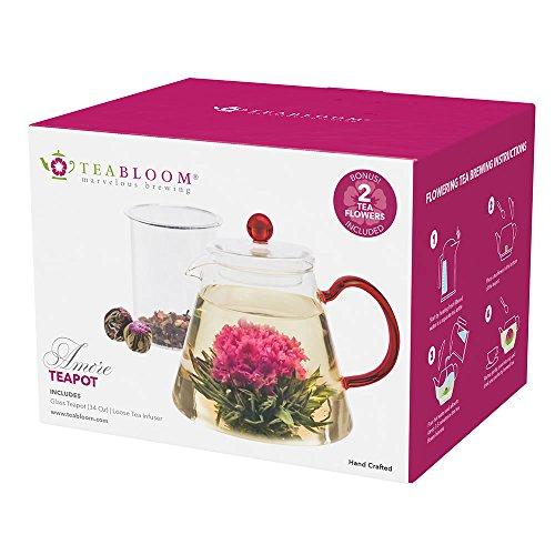 Teabloom Glass Teapot for Blooming Tea and Loose Leaf Tea 34 Oz Heat Resistant Borosilicate Glass Teapot with Infuser - 2 Bonus Tea Flowers
