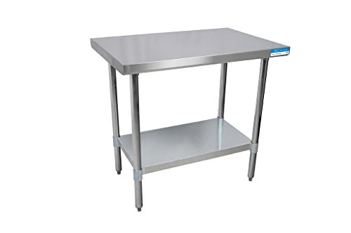 BK Resources VTT-7230 18 Gauge Stainless Steel Flat Top Table with Galvanized Undershelf and Legs 72 x 30 3475 Height 30 Width 72 Length