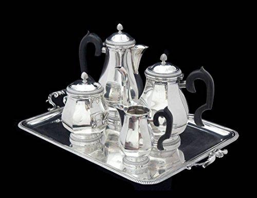 ANTIQUE FRENCH 5pc ART DECO STERLING SILVER TEA SET 950 SILVER ERNST PROST