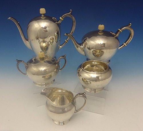 Arthur Stone Sterling Silver Tea Set Hand Wrought 5 Pc 0284