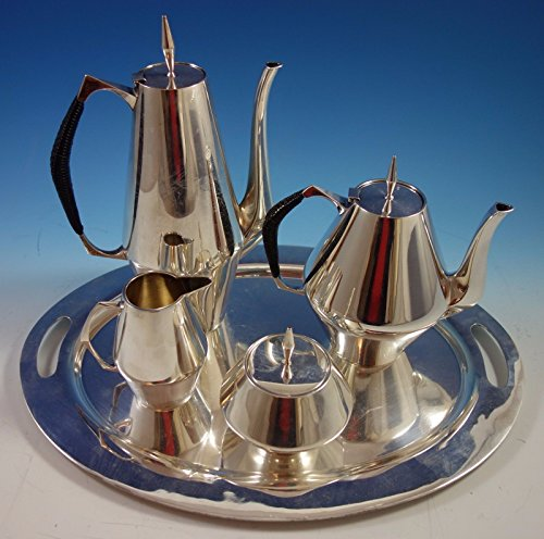 Diamond by Reed Barton Sterling Silver Tea Set 4pc 440 with Tray 1855