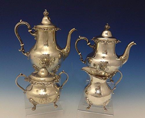 Strasbourg by Gorham Sterling Silver Tea Set 4pc Scrolly Design Fancy 0654