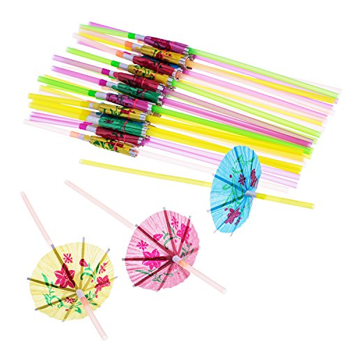 Blulu 100 Pieces Umbrella Disposable Bendable Drinking Straws for Luau Parties Bars Restaurants