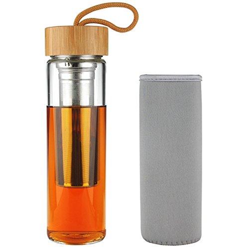SHBRIFA Tea Tumbler Borosilcate Glass Water Bottle with Bamboo Lid 500 ml  17 oz