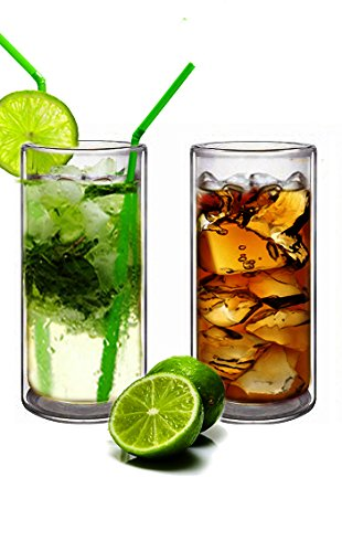 Suns TeaTM Set of 2 20oz Ultra Clear Strong Double Wall Insulated Thermo Glass Tumbler V3 Highball Glass for Beercocktaillemonadeiced Tea Real Borosilicate Glass Not Plastic