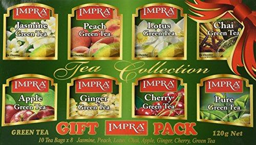 Impra Flavored Green Tea Gift Pack 8 Flavors 80-count Tea Bags