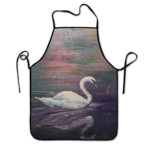 Hhuijin-Fashion Design Swan Lake Adult Chef ApronRestaurant Durable Baking Bib Apron Adjustable Strap Keep The Clean Clothes