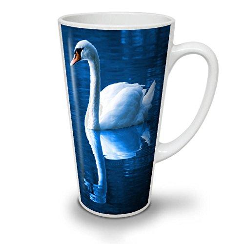Swan Lake Bird Animal Water Bird White Ceramic Latte Mug 17 oz  Wellcoda