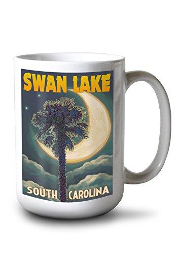 Swan Lake South Carolina - Palmetto Moon and Palm 15oz White Ceramic Mug