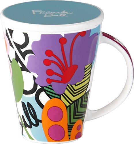 French Bull - Porcelain Mug with Lid - V Mug - Large Mug for Coffee or Tea - Oasis