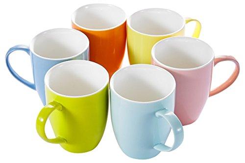 Panbado 6 Colors Porcelain Mugs Cups for Coffee and Tea 15oz Set of 6