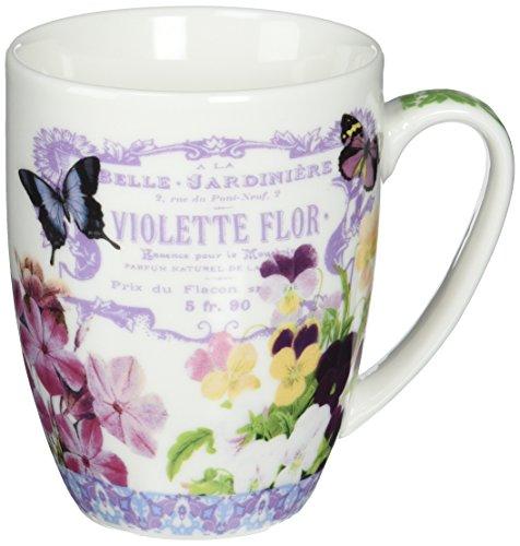 Paperproducts Design 602066 Gift Box Porcelain Mugs 14-Ounce Vintage Violets Set of 2