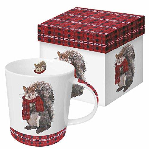 Paperproducts Design Gift Boxed Porcelain Mug 135 oz Plaid Spencer Squirrel Multicolor