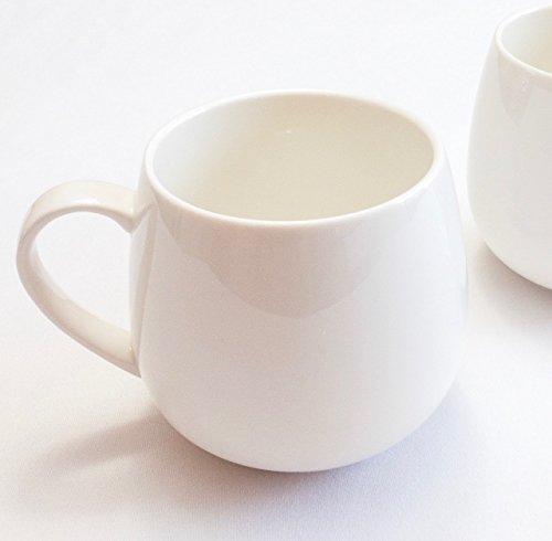 Winnsoma Duet Porcelain Mugs Set of 2 High Grade Elegant Pure White Porcelain For Coffee Latte Milk Tea