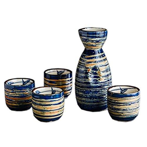 Japanese Ceramic Sake Bottle Cups Sets Sake Flask for Sushi Bar 03