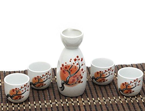 Japanese Sake Set 5 Pieces Sake Set Hand Painted Design Porcelain Pottery Traditional Ceramic Cups Crafts Wine Glasses Red