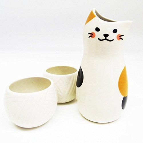 Sun Art Calico cat Sake Bottle and Sake Cups set SAN2524 from Japan