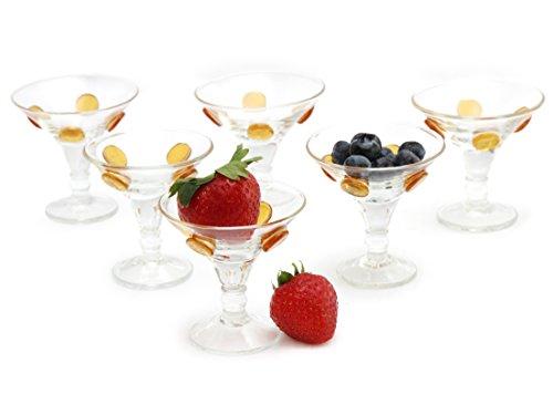 GAC Set of 6 Unique Shot Glasses 1oz Brandy Glasses Mini Martini GlassesMini Cocktail Glasses and Fun Whiskey Glasses Designed with Gold Glass Dots
