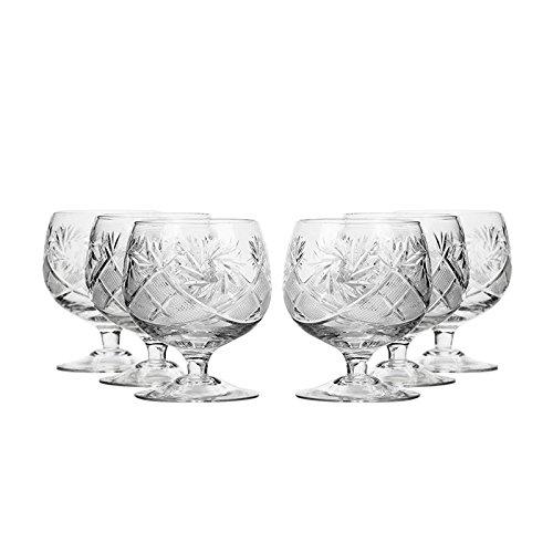 Set of 6 Neman Glassworks 10-Oz Hand Made Vintage Russian Crystal Glasses Brandy Cognac Snifters Old-fashioned Glassware
